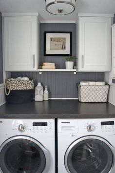 Love the door frame shelves and open laundry