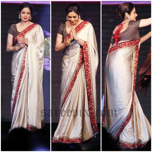 Ageless beauty Sridevi saree photos at Bollywood movie Shamitabh music launch in Mumbai.