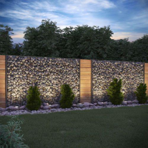 Cesta de pedra de gabião proteção de visão 1630mm antracite cerca de pedra cerca de gabião   – Moderne häuser