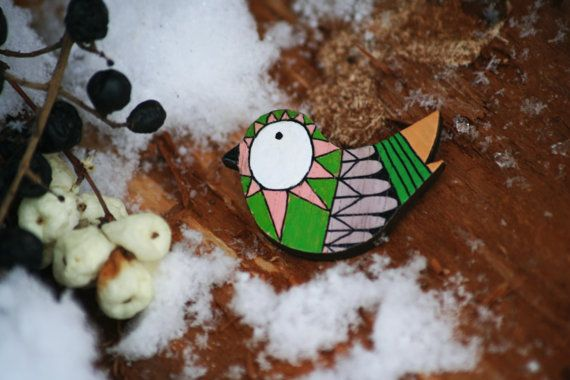 wooden broochwooden bird handmade laser cut uniqe by Fahej on Etsy