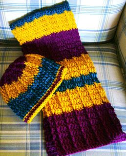 Simply Shoe Boxes: Double Crochet Front Post Crochet Scarf Pattern (With Link to Hat Pattern)