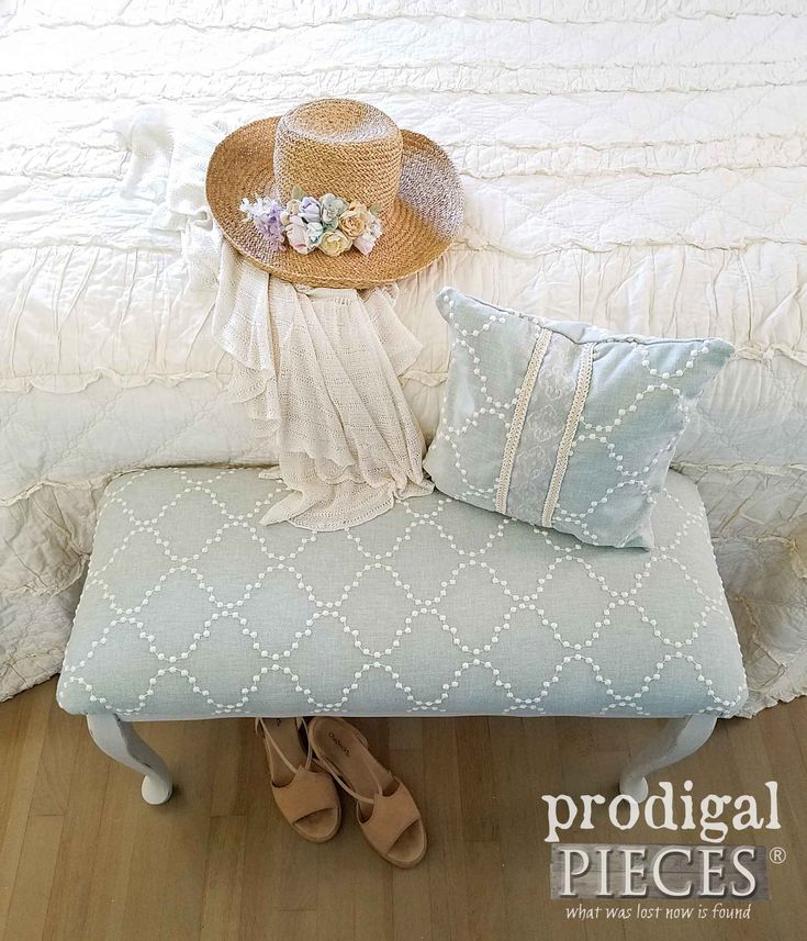 Upholstered Queen Anne Bench and Pillow Set by Larissa of Prodigal Pieces | prodigalpieces.com