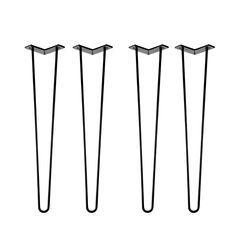 Ein Klassiker unter den Tischbeinen, das Hairpinleg. Handgemachte Qualität  aus Deutschland. Egal ob Tisch, Ablage oder altes Surfbrett - 10mm  Rundstahl halten was sie versprechen. Such dir eine Variante aus, werde  kreativ und stell etwas auf die Beine.  Holzplatten empfehlen wir vor jeder Projektgestaltung vorzubohren um ein  Zerspringen zu verhindern. Schrauben (4mm) sind im Lieferumfang enthalten.