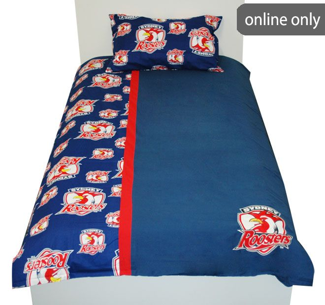 NRL Team Logo Quilt Cover Set and Accessories Range Sydney Roosters