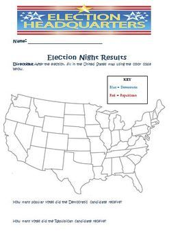 United States Presidential Election Map Activity