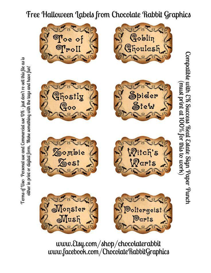 148 besten Witchy labels for home Bilder auf Pinterest | Halloween ...