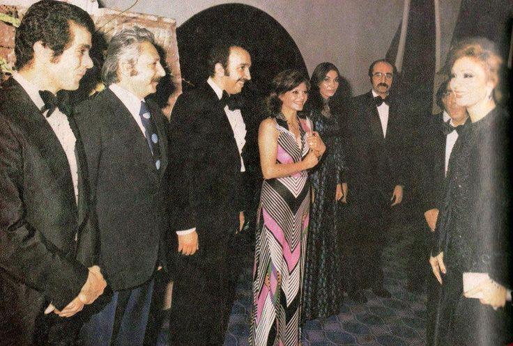 From left: Behrouz Vossoughi, Jamshid Mashayekhi, Bahman Farman Ara, Fakhri Khorvash, Parvaneh Masoumi and Kamran Shirdel while meeting Farah Pahlavi in Iran