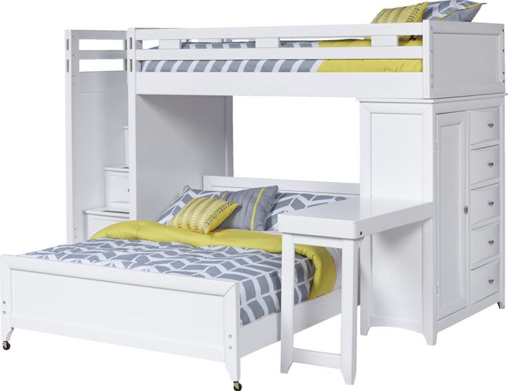 Ivy League White Twin/Full Step Loft Bunk with Chest and Desk