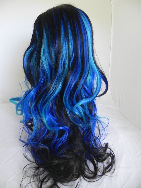110 best cabelos azuis images on pinterest hair hair colors and party in paradise black royal blue aqua long wavy layered wig mermaid pmusecretfo Gallery