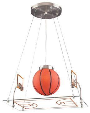 $238.00 how cool is this ..  Basketball Court Pendant, Satin Nickel - eclectic - children lighting - Rosenberry Rooms