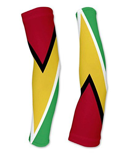 Guyana Flag Compression Arm Sleeves UV Protection Unisex  Walking  Cycling  Running  Golf  Baseball  Basketball  Size S -- See this great product.