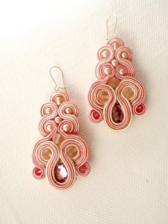 Nude statement swarovski earrings , handmade earrings , spring collection , soutache chandelier earrings