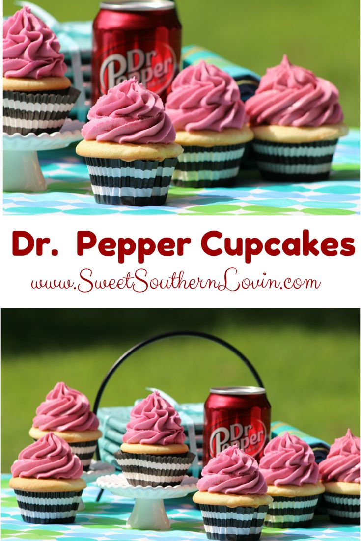 Dr. Pepper Cupcakes Recipe. Perfect for any summer party