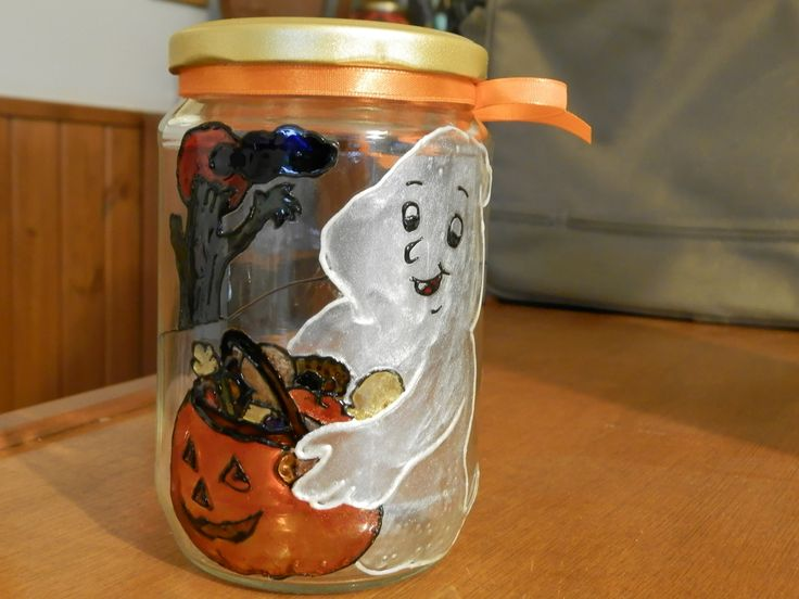 Halloween painted jar