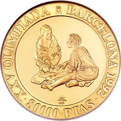 Moneda de oro 80.000 Pesetas Barcelona 92. 1992 Niños jugando.