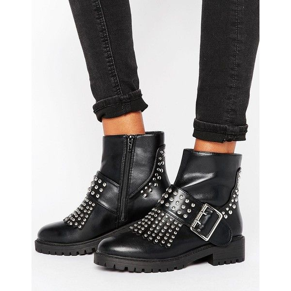 Missguided Fringe Stud And Buckle Biker Boot (€64) ❤ liked on Polyvore featuring shoes, boots, black, motorcycle boots, biker boots, black moto boots, studded moto boots and black studded boots