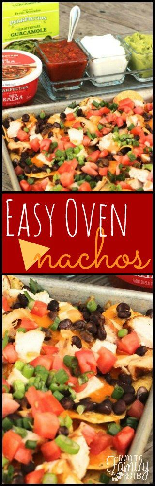 These Easy Oven Nachos are always a hit and perfect for a crowd. An easy appetizer for parties or game day that everyone will love! via @favfamilyrecipz