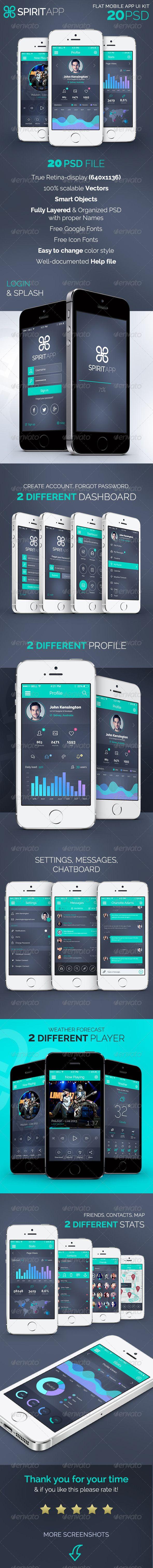 SpiritApp - Flat Mobile Design UI Kit