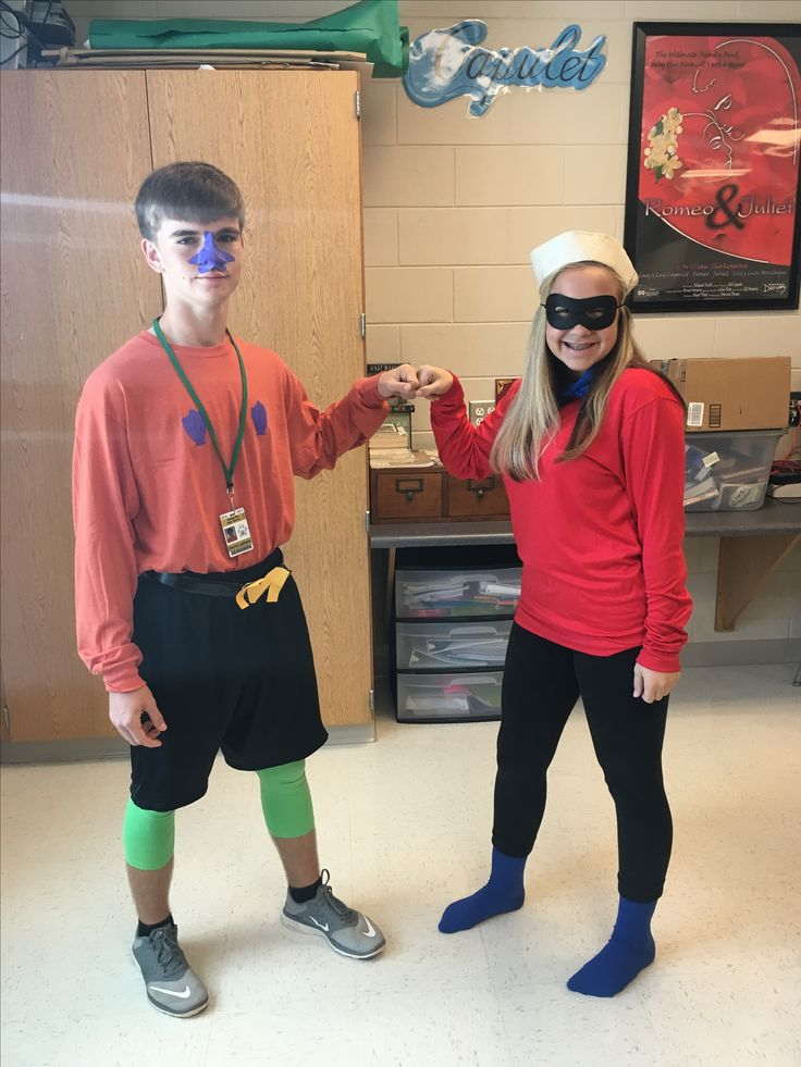 Homecoming week 2016 super hero day, barnacle boy and mermaid man costume.