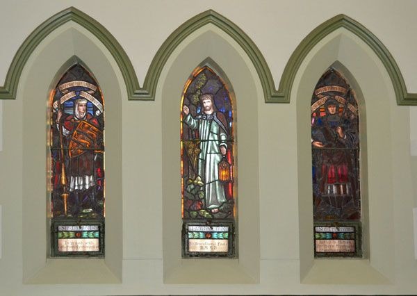 """Stained glass windows are a feature at Albert Street Uniting Church. Many of them are """"In Memorial"""" to people. Come and visit to find out their full story."""