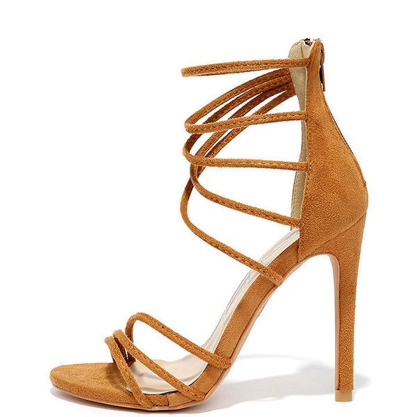 Downright Darling Camel Suede High Heel Sandals ($37) ❤ liked on Polyvore featuring shoes, sandals, brown, strappy sandals, strap sandals, brown strappy sandals, high heel sandals and strappy heeled sandals