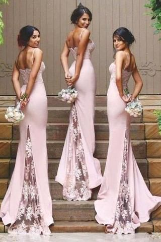 ... Wedding robe demoiselle d honneur Custom. Stylish Mermaid Spaghetti  Straps Satin Long Pink Bridesmaid Dresses uk with Lace Appliques PH267 ca2b0dda4557