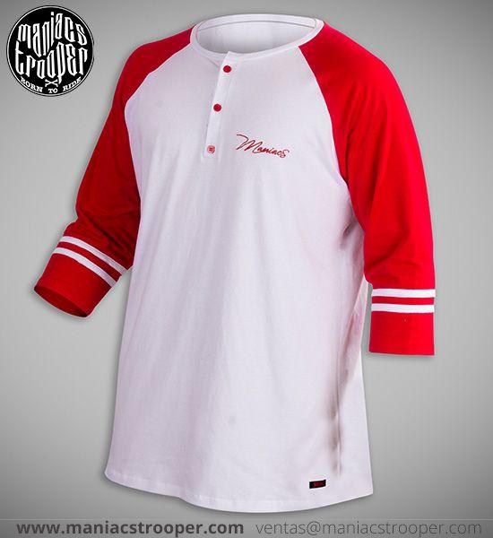 Camiseta Mr Red Buttons Blanca. Diseños Originales. Maniacs Trooper.  #BMX #ropaurbana #modaurbana #ropaBMX #camisetas #camisetasdeportivas