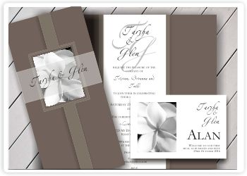 frangipani wedding invitation