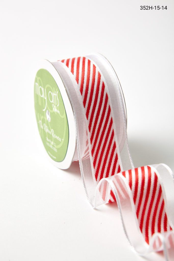 1 5 Inch White Sheer Diagonal Stripes Wired Ribbon Red Center Stripes Wired Ribbon Christmas Ribbon Ribbon