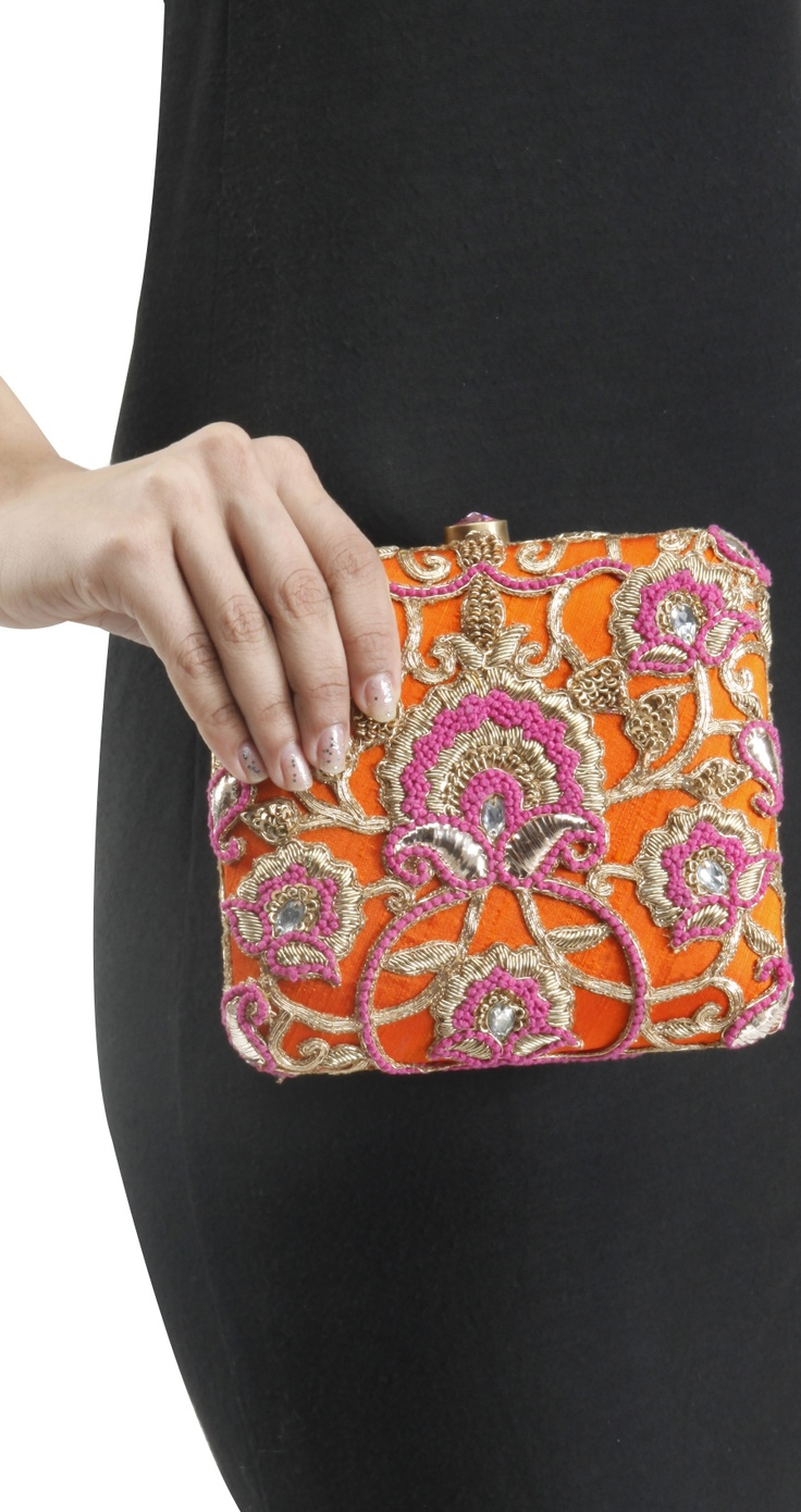 Orange embroidered Clutch by LOVE TO BAG. Shop at https://www.perniaspopupshop.com/whats-new/love-to-bag-23