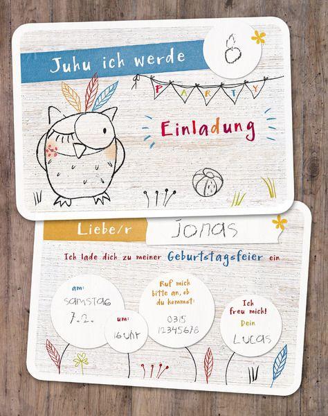 Einladungen - Einladungskarten Kindergeburtstag - ein Designerstück von lina-art bei DaWanda