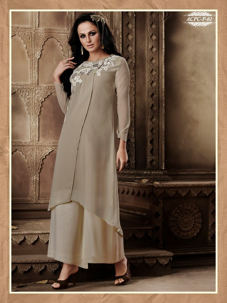 Grey Colour Embroidery Georgette Stitched Kurti