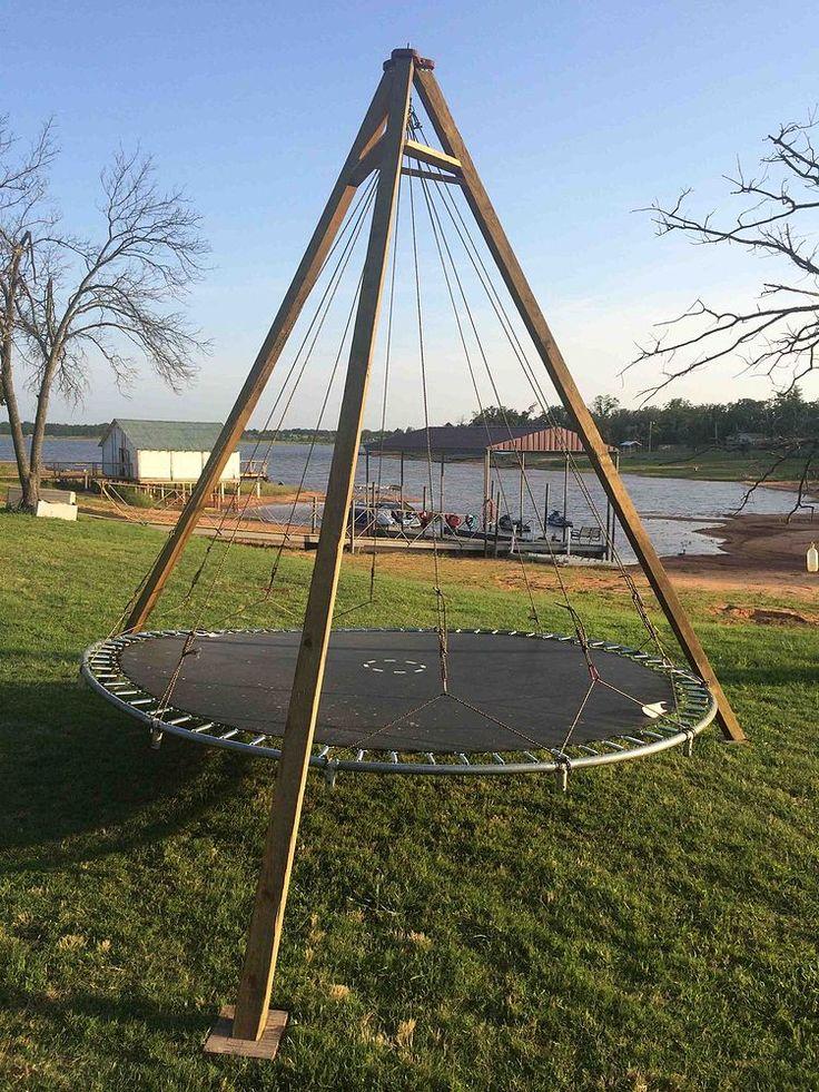 Trampoline Turned Backyard Lounge Swing Trampolines