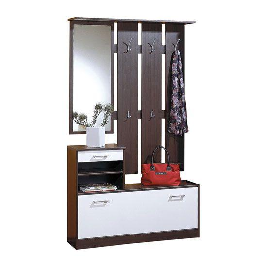 White Hallway Storage Furniture: Wenge/White Hallway Stand/ Shoe Storage Cabinet 0112-04