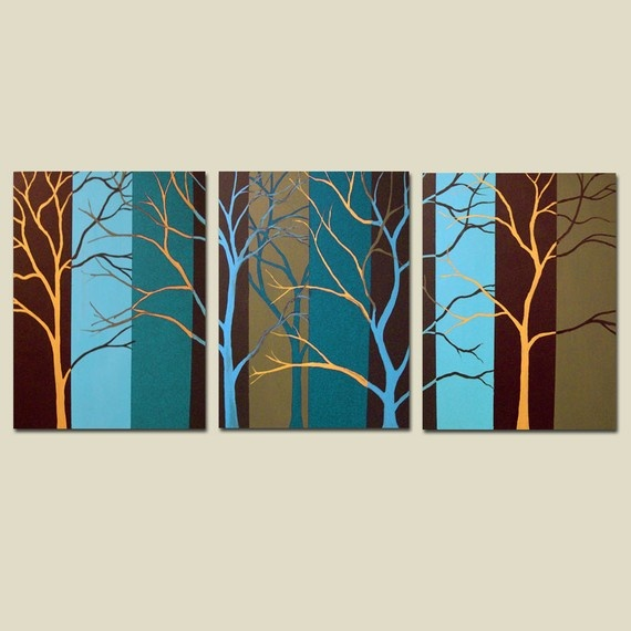 Extra-large custom original painting - Trees and Stripes $375