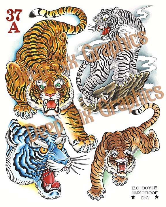 Image of Tigers | Reference: Tattoo Flash | Pinterest