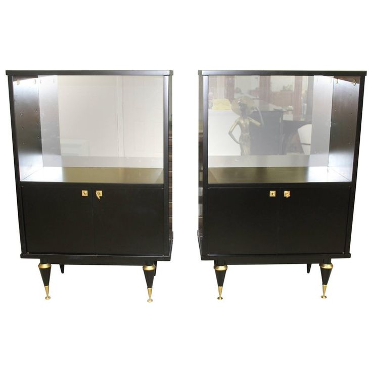 Pair of French Art Deco Tall Sideboard / Cabinets Ebonized, circa 1940s | From a unique collection of antique and modern sideboards at https://mario.1stdibs.com/furniture/storage-case-pieces/sideboards/