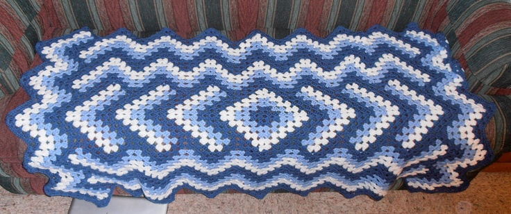 Blue Drop In the Pond Handmade Crochet Lap Afghan
