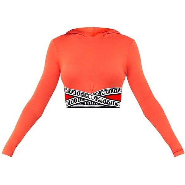 PrettyLittleThing Trim Bright Orange Jersey Hoodie (£20) ❤ liked on Polyvore featuring tops, hoodies, bright red hoodie, orange hooded sweatshirt, bright tops, orange top and red hooded sweatshirt