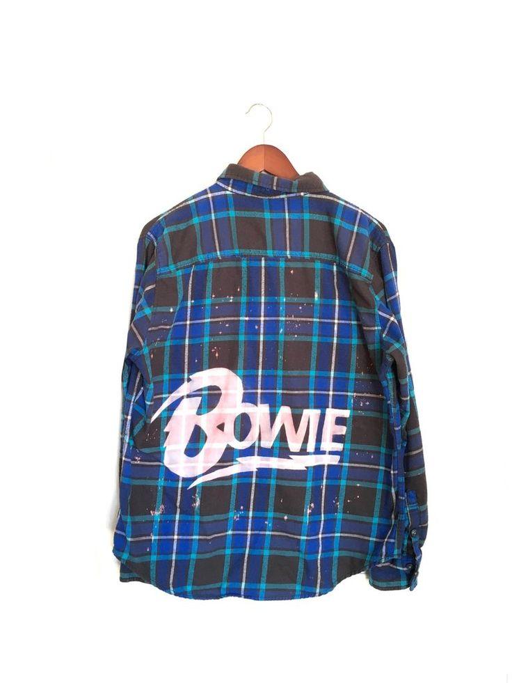 David Bowie Shirt in Blue Plaid Flannel