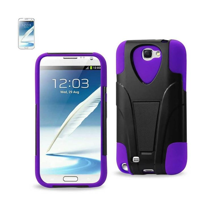 Reiko Silicon Case+Protector Cover For Samsung Galaxy Note 2 N7100 New Type Kickstand Black Purple