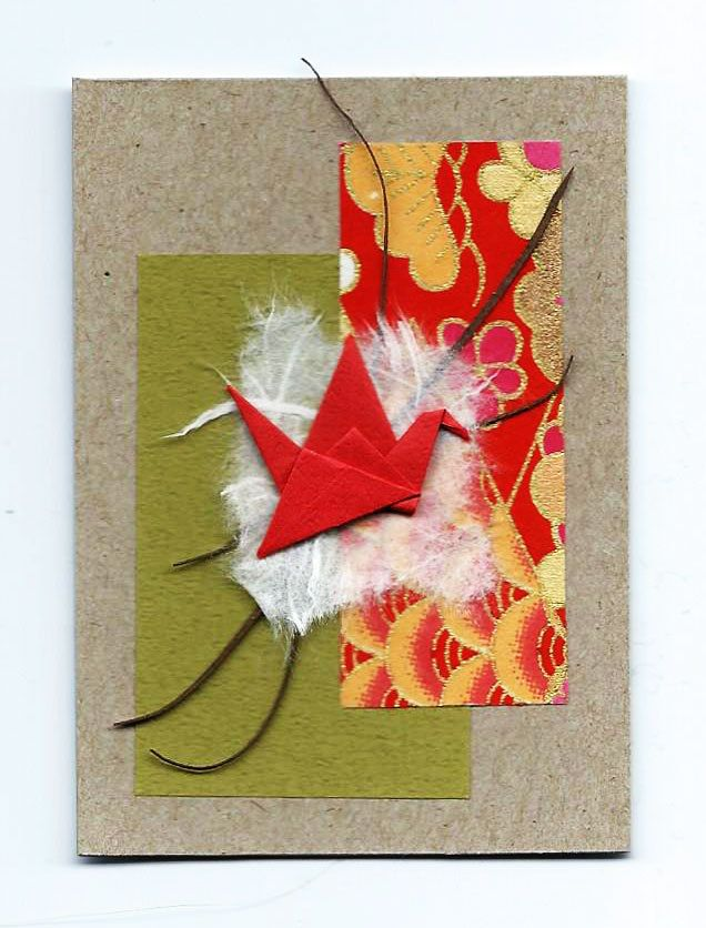 Original ACEO Origami Crane and Paper Collage-Miniature Art-Pocket Art-bird- #12 #Miniature Sarcelle Origami Crane on Paper Collage. Chiyogami and Tant paper. Small Wall Art. Aceo 2.5'' x 3.5''