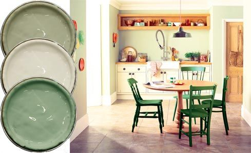 Overtly Olive; Jasmine White; Soft Sage, all Dulux; Kitchen painted in Dulux colours