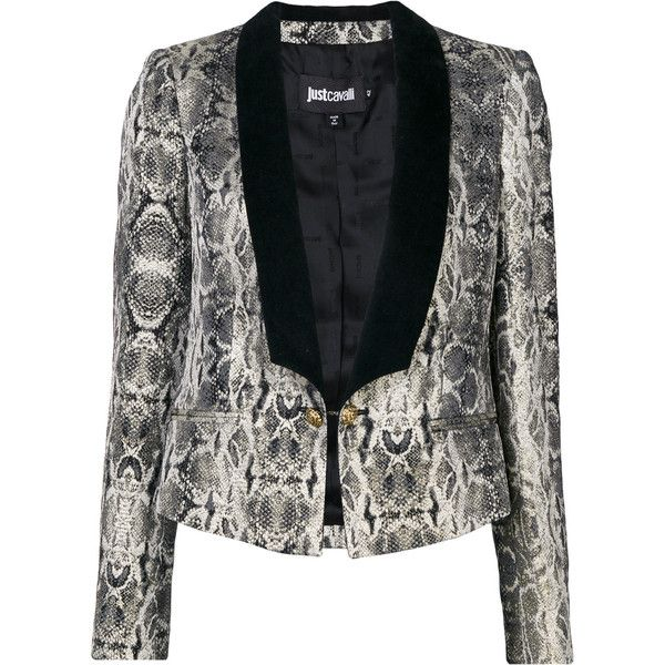 Just Cavalli snakeskin print dinner jacket (855 CAD) ❤ liked on Polyvore featuring outerwear, jackets, grey, gray tuxedo jacket, just cavalli, grey dinner jacket, just cavalli jacket and tux jacket