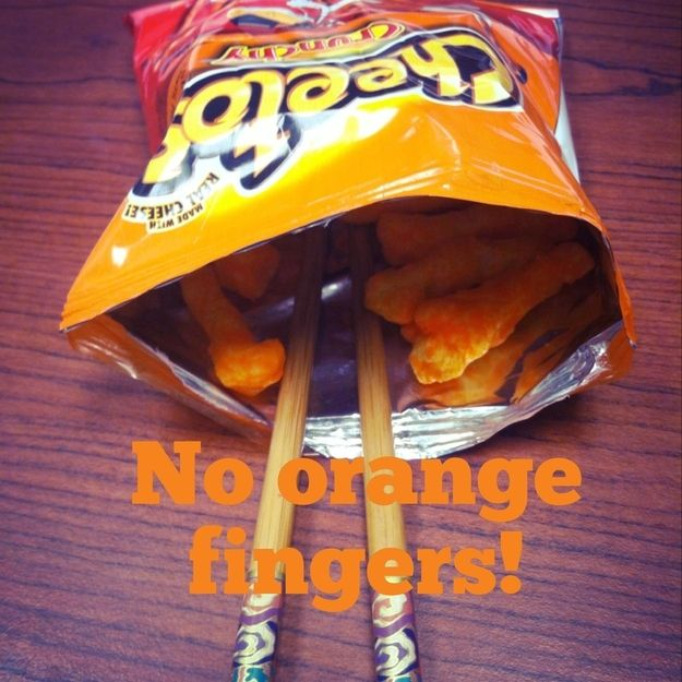 Eat Cheetos or Doritos with chopsticks to keep the dust off your fingers