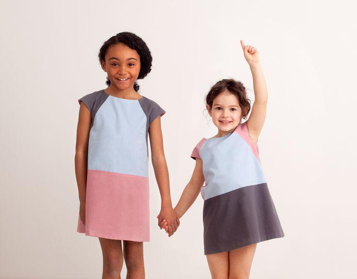 Vestito double-face, azzurro-rosa-grigio