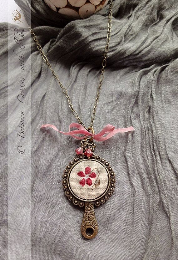 Hand stitched necklace with cross stitched pendant by NinaNinocska, $28.00