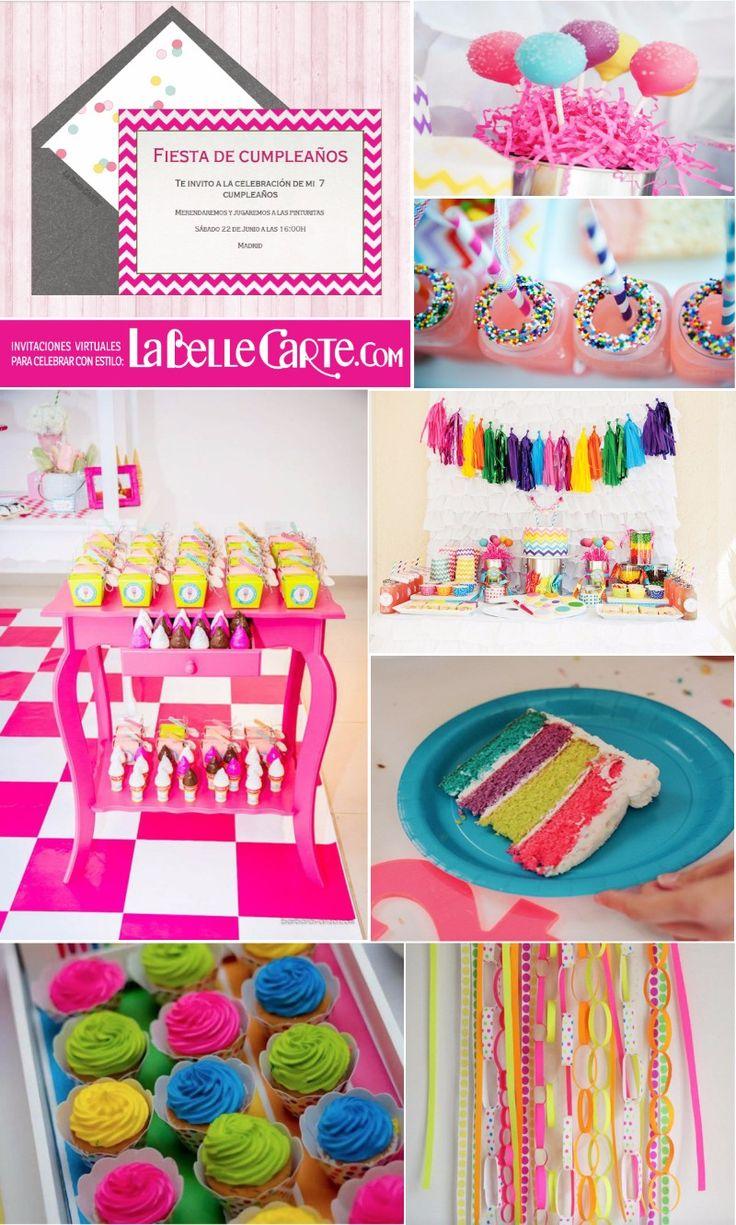 Invitaciones Infantiles, Invitaciones para fiestas Infantiles, Cumpleanos neon, Fiesta fluor