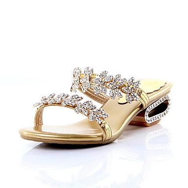 Rhinestone  Leather Slipper Sandals Women's Shoes Party/Evening Shoes (More Colors)  – USD $ 34.39