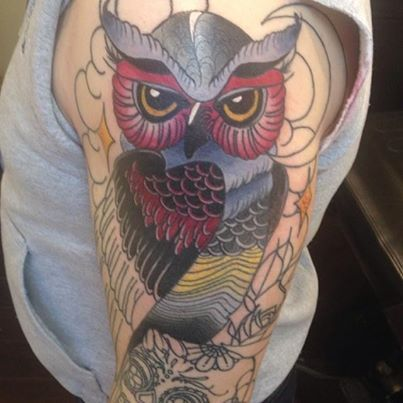 Unfinished #Owl #Tattoo by Leanne Thief at Black Rabbit Tattoo Studio in Port Moody, BC